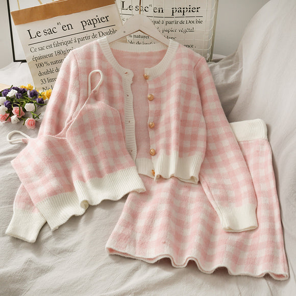 Checked Sweater Three-piece Set AD12589
