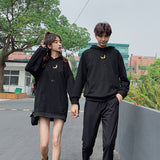 Black Loose Moon Couple Hoodie Jumper AD12175