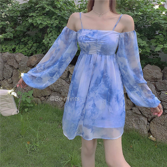 Blue Chiffon Dress AD210008
