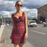 Plaid Dress V-neck Belt Zipper Bag Hip Skirt AD11549