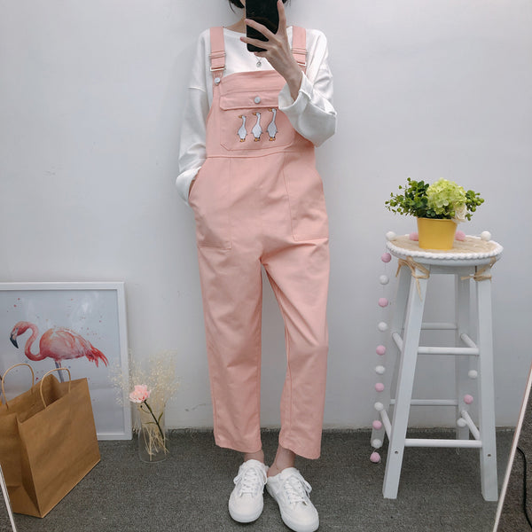Cute Duck Pocket Jumpsuits AD11306