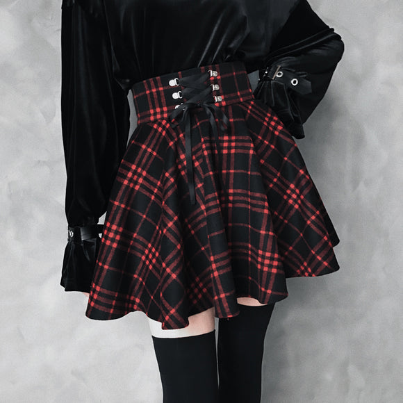 Black-Red Gothic High Waist Laced Plaid Skirt AD10487