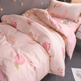 Peach Printing Bed Sheet 4 Pieces AD11837