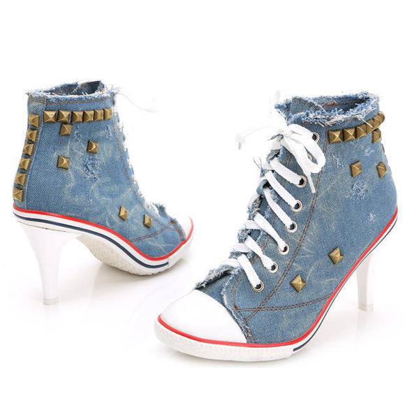 Denim High Heel Canvas Shoes AD11338