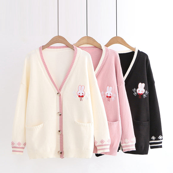 Pink/Navy/Beige Kawaii Bunny Knitting Coat AD12017