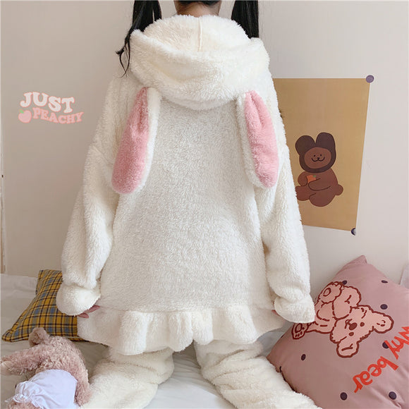 Cute Rabbit Ears Hooded Pajamas Set AD12813