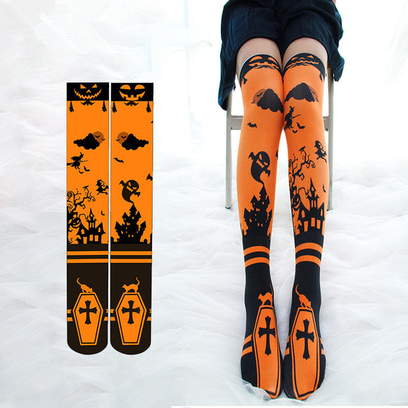 Hallowmas Printing Knee-high Stockings AD10475