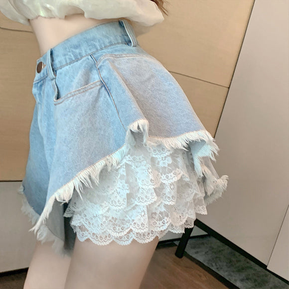 Denim Shorts / Lace Shorts ( two pieces ) AD12170