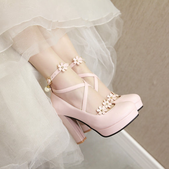 Lolita Flower Pearl High Heels AD10252