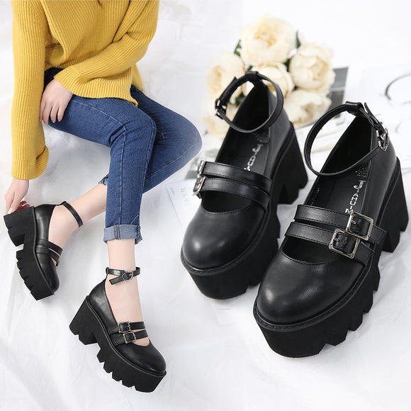 Harajuku Black Strap Shoes AD11913