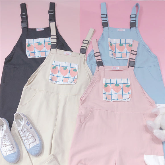 Strawberry Buckle Overalls AD11373