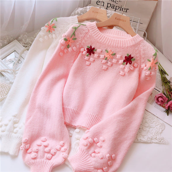 Sweet Embroidered Flower Sweater AD12520