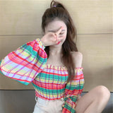 Rainbow Off-The-Shoulder Shirt AD12716