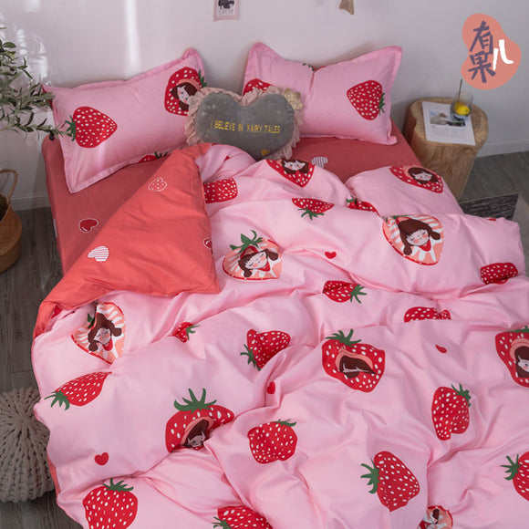 Strawberry Bed Sheet 4 Pieces AD11831