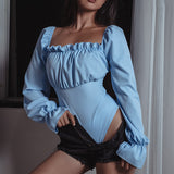 Blue/Black Backless Lace Up Square Collar Long Sleeve Bodysuits Lingerie AD10544