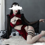 Witch Sexy Hollow Silk Sleeve Cheongsam Lingerie Set AD12786
