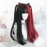 Lolita Black Half Red Curly Wig AD10928