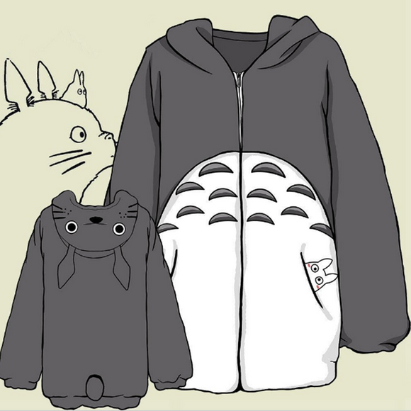 Totoro Hooded Flannel Coat AD10082