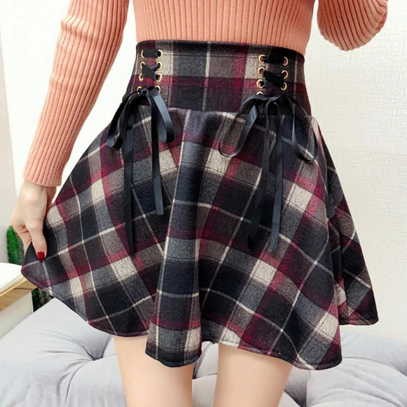 Red/Green Retro Woolen Plaid Lace-up Skirt AD10545