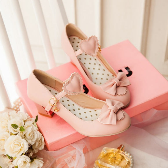 Japanese Peach Heart Bowknot Lolita Shoes AD10552