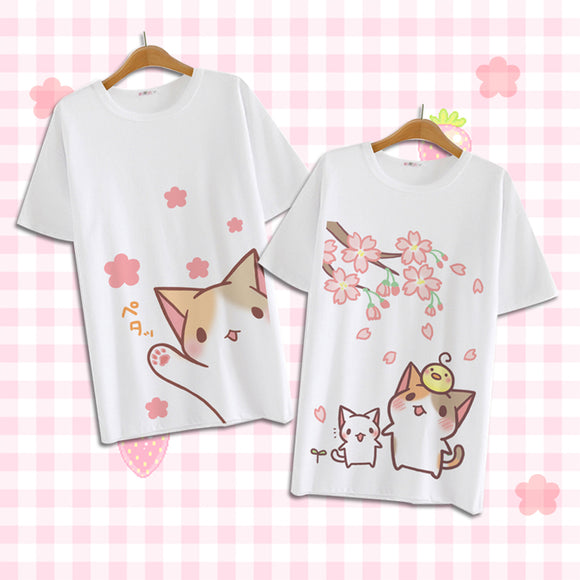 Cute Kawaii Cartoon Cat T-shirt AD10388