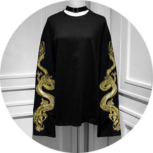 Black Dragon Embroidery T-shirt AD10118