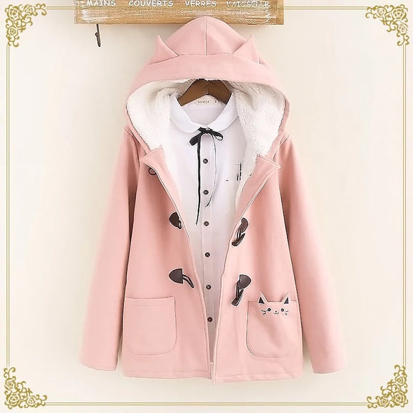 Warm Kawaii Pink/Black/Navy Cat Hooded Ear Jacket AD10178