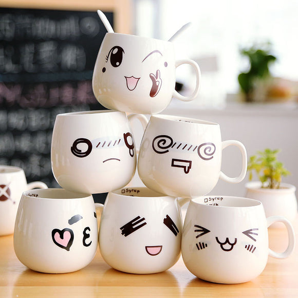 Cute Expression Milk Coffee Ceramic Cup AD10389