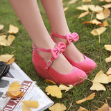 Black/Beige/Pink Sweet Bow Wedge Shoes AD10158