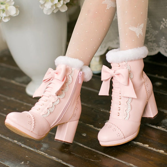 Japanese Lolita Bowknot Heels Boots AD10498