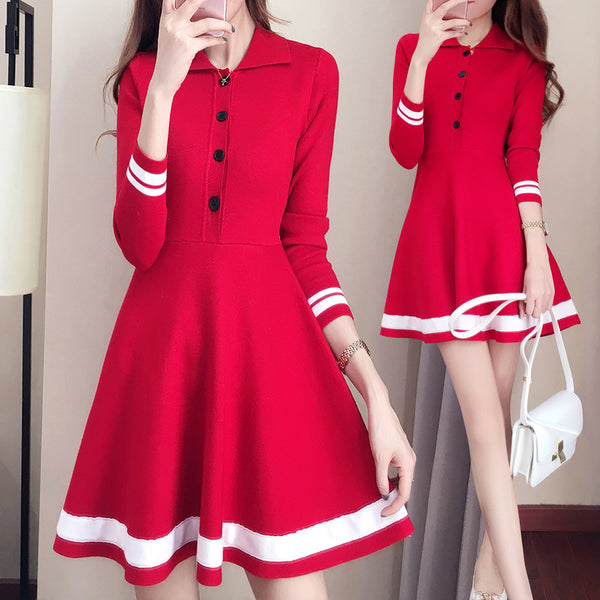 Striped Button-knit Sweater Dresses AD10463