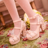 White/Pink/Apricot Elegant Lace High-heel Shoes AD11608