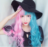 Half Blue Half Powder Big Wave Wig AD10114