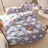 Grey Clouds Printing Bed Sheet 4 Pieces AD10199