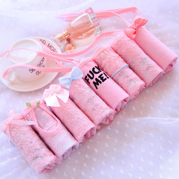 Pink,Lace,Briefs,8 Pieces,Gift Box,