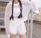 Black/White Grid T-shirt + Shorts Two-piece AD0247