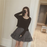 Korean fashion vest skirt dress two-piece outfit  AD0007