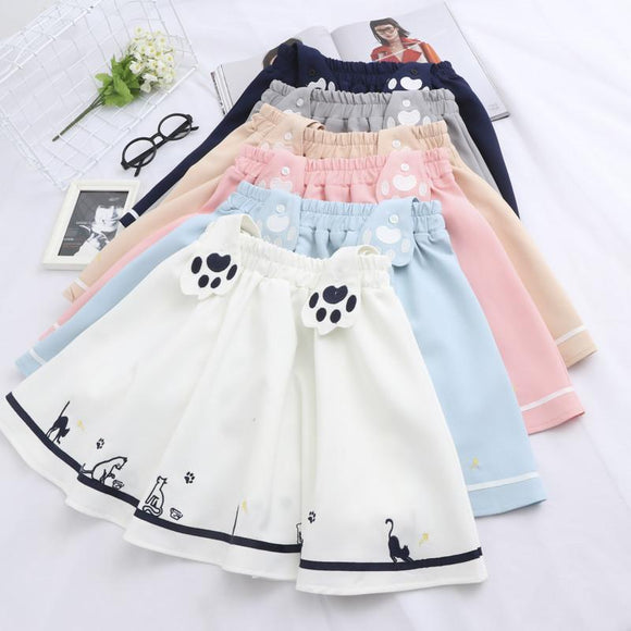Navy/White Cat's Paw Straps Skirt AD0229