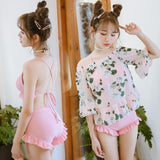 Floral Cover With Bathing Swimsuit Three-Piece AD10071