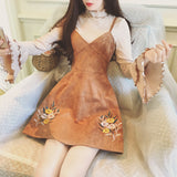 Embroidered Flower Cake Trumpet Sleeve Two-Piece Strap Dress AD10350