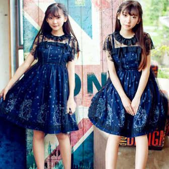 Harajuku Stars Printing Two-Piece Dress AD0250