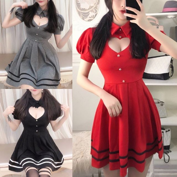 Sexy,Hollow Out,Heart Dress,skirts,