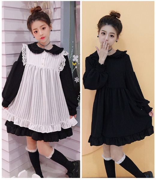 Cute Lace Edge Lotus Collar Dress Set AD10850