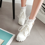 Black/White Lace PU Heels Boots AD10054
