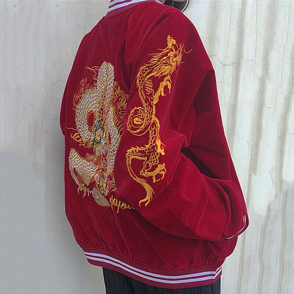 Dragon Embroidered Velvet Jacket AD10934