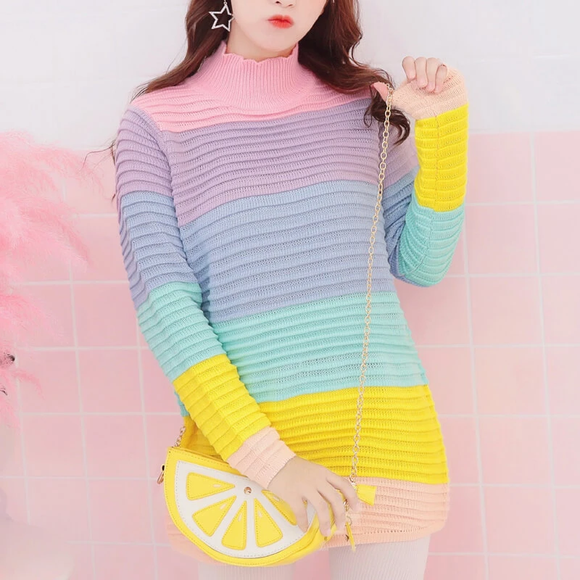 Sweet Rainbow Knitted Sweater AD0325