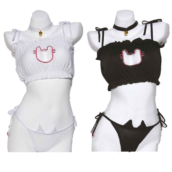 White / Black Cats Lingerie Set AD11359