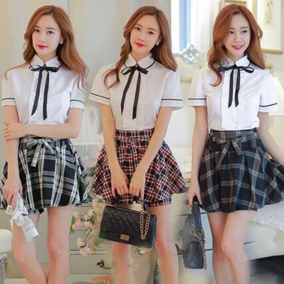 Uniform Shirt + Plaid Skirt Two-Piece Outfit AD11503