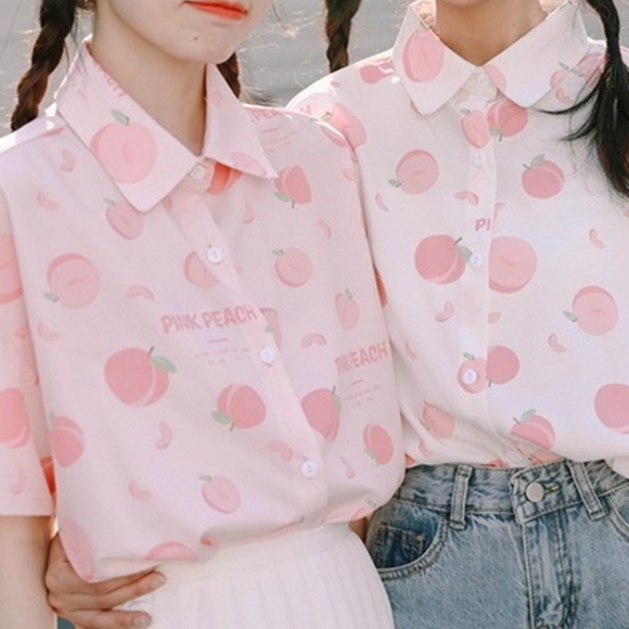Peach Printed Shirt AD12179