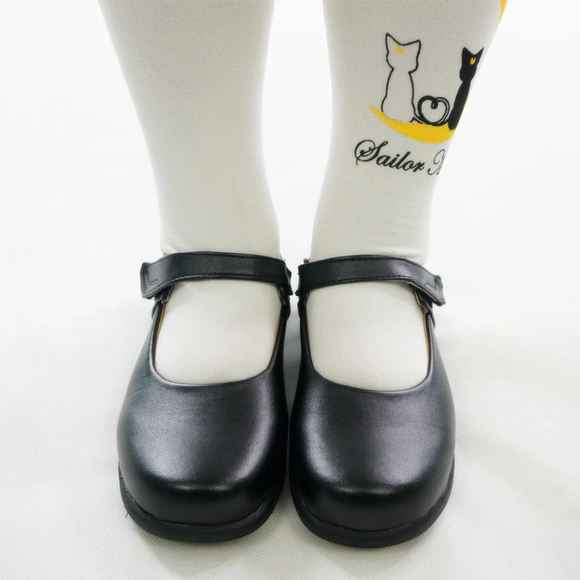 Round Toe Matt Black PU Leather School Uniform Shoes AD10891
